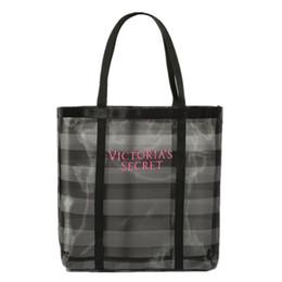 Wholesale Transparent Large Beach Bags - landyhouse 2017 Women Love Pink Brand victoria Transparent gauze Shopping Bag Large Travel Beach Resort Duffle Bags Striped Shoulder Bag
