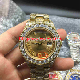 Wholesale Huge Black Diamond - Huge diamonds bezel big size 43mm wrist watch luxury brand hip hop rappers full iced out gold case gold face dial automatic watches