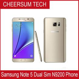 Wholesale Mobile Phones One Sim - Original Samsung Galaxy Note 5 5.7'' Mobile Phone 4GB 32GB ROM 16MP Octa Core 2.1GHz 2560x1440 One SIM LTE 3000mAh Refurbished