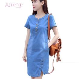 Wholesale Korean Jeans Dresses - Wholesale- APOENG Korean denim dress for women 2017 new summer casual jeans dress with button plus size sarafans Vestido feminino LZ181