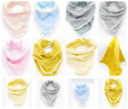 Wholesale Handkerchief Towel - Baby Bibs Pom Pom Burp Cloths Infant Handkerchief Napkin INS Saliva Towels Newborn Turban Cotton Bandana KKA3232