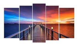 Wholesale Bridge Life - YIJIAHE Landscape Print Canvas Painting Bridge 5 Piece Canvas Art Wall Pictures For Living Room Large Wall Art FJ48