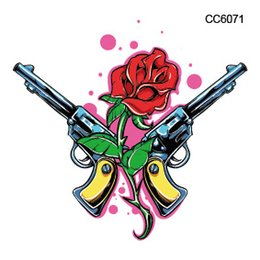 Wholesale Guns Fakes - Wholesale- CC6071 6X6cm Little Halloween Rose and Pistol Gun Designer Temporary Tattoo Sticker Body Art Water Transfer Fake Taty for Face