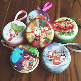 Wholesale Purse Party Favor Boxes - 24 PCS Mini Cute Round Headset Christmas Zipper Coin Purse Key Wallet Pouch Bag Coin Packet Christmas gift box,holders Christmas Favor