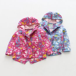 Wholesale Girl Rose Coat - Everweekend Girls Cartoon Animals Print Fall Jackets Outwears Rose and Blue Color Sweet Children Fashion Western Fleece Coats