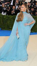 Wholesale Evening Dress Jennifer - New York Jennifer Lopez Caped Blue Evening Dress 2017 Celebrity Dresses Met Gala More 2017 Gala Dresses