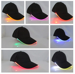 Wholesale Baseball Caps Led Lights - Unisex Caps Fashion LED Lighted Glow Club Party Black Fabric Travel Hat Baseball Cap