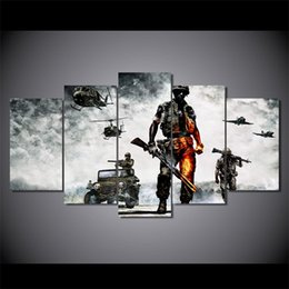 Wholesale Battlefield Figure - 5 Pcs Set Framed HD Printed battlefield bad company Painting Canvas Print room decor print poster picture canvas Free shipping ny-2937
