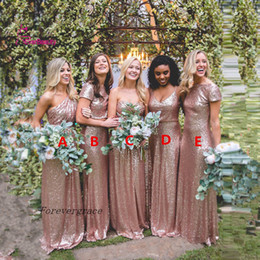Wholesale Wedding Dresses One Shoulder Roses - 2017 High Quality Long Sequins Sparkle Bridesmaid Dress Rose Gold Maternity Maid of Honor Dress Wedding Guest Gown Custom Made Plus Size