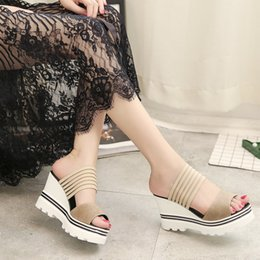 Wholesale Elastic Band Sandals - Women Sandals Slippers 2017 New Summer Fashion Muffin Sandals Home Shoes Wedge Heels Beach Sandals .LX-014