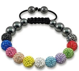 Wholesale White Shamballa Men - Fasion!Free Shipping! 13 Bead 10mm micro pave CZ Disco Ball Beads BWS Spacer Shamballa Crystal Bracelet. new design men jewelry!
