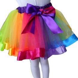 Wholesale Rainbow Dress For Baby Girl - TUTU Bust Skirt for Baby Girls Rainbow Baby Photography Multi Flower Color Ribbons Pleated Mini Kids Dress