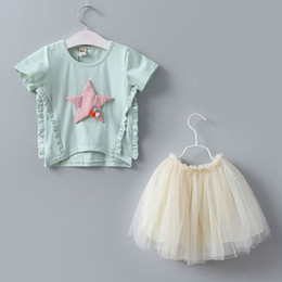 Wholesale Tee Tutu Dress - New Summer Children Outfit Fashion Girls Dress Suits star lace short sleeve T-Shirt tops tee white Tutu Skirts Tiered Tulle Dress set A186