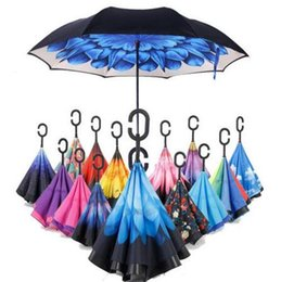 Wholesale Down Proof - Windproof Reverse Closing Double Layer Inverted Umbrella and Inside Out Upside Down Rain Protection Ultraviolet-proof Umbrella CCA6462 50pcs