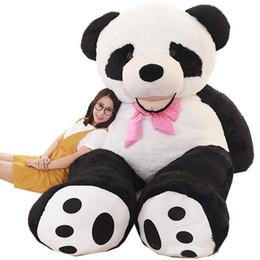 panda peluche grandi Sconti grande giocattolo peluche sorridente fumetto cuddly giocattolo enorme farcito anime panda divano bambola decorazione regalo tatami 260cm 160cm 130cm