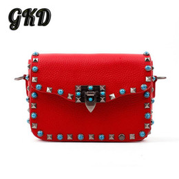 Wholesale Gold Seeking - Wholesale-Goddess Kingdom Stud and roll style women genuine leather flap bag fashion street girl seeks chic handbags for valentines BAF628
