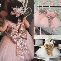 Wholesale Big Fluffy Wedding Dresses - 3 Colors Baby Girl Fashion Princess Party Dress Kids Sequined Big Bownot Lace Tutu Dress Kids Fluffy Wedding Dress Free Shipping