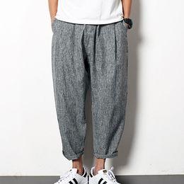 Wholesale Japan Fashion Pants Men - Wholesale-Summer Ultra-loose Japan style Vintage Mens Harem pants M~2XL Fashion Elastic waist Chinese style Ankle-Length carrot pants K087