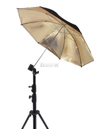 "Wholesale Photo Flash Light Reflector - Wholesale-33"" 83cm Reflector Reflective Black Gold Golden Umbrella For Photo Studio Flash Light free shipping"