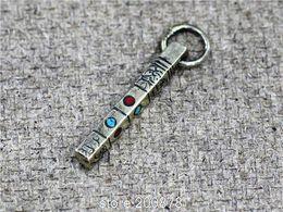 Wholesale Tibetan Buddhist Pendants - Wholesale-TBP705 Tibetan Antiqued Silvertone Long Bar mantras charms Tibet Buddhist Amulet pendants Wholesale Tibet Man Amulet