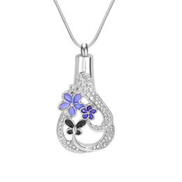 Wholesale Vintage Funnels - Lily Urn Necklace Teardrop Crystal Vintage Memorial Keepsake Pendant Cremation Jewelry with Gift Bag and Funnel