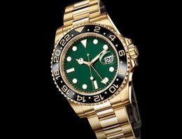 Wholesale Asia Yellow - Top Quality Luxury Wristwatch Ceramic(green )Black Dial Bezel Gold GMT 116718 Asia 2813 Movement Automatic Mens Men's Watch Watches