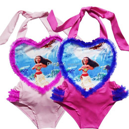 Wholesale Heart Shaped Swimwear - 2017 new Trolls Baby Girls One-Pieces Swimsuit children cartoon lace Heart-shaped Swimwear Moana printing Bikini 6 colors C1974