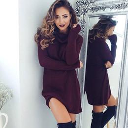 Wholesale Thick Warm Long Sleeve Shirts - 2016 New Women Sweater Dresses Autumn Winter Long Sleeve Knitted Turtleneck Thick Warm Slim Dresses vestido de festa