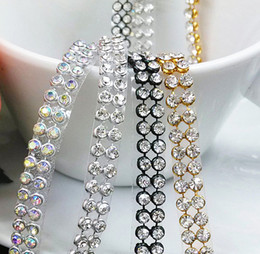 Wholesale Hot Fix 3mm Crystal - promotion!3mm 2rows 1.2meter Crystal Clear Stones Silver Hot Fix Rhinestone Mesh Trimming Aluminium base Pasted Sew-on Net Drill