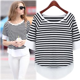 Wholesale Stitch Bedding - 2017 autumn summer wear the new dress coat stripe bedding clothes show thin chiffon stitching t-shirts with short sleeves