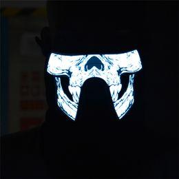 2019 piscar emblemas do pino do natal Máscaras de máscaras de máscaras inferiores metade do rosto máscara EL wire máscara el piscando máscara com som controlado led presente para festa festiva Crânio XLL05