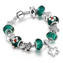 Wholesale metal charm letter sliders - 6 Color fashion glass beads silver pandora bracelets big hole metal alloy charms European diy bracelets for women