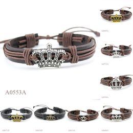Wholesale Crown Bracelet Cuff - (10PCS lot) ANTIQUE SILVER Tone Bronze Crown CHARM Adjustable Leather Cuff Bracelet PUNK Casual Friendship GIFTS Jewelry