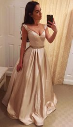 Wholesale Sweetheart Champagne Satin - Champagne Satin Long Prom Dresses Sweetheart Tank A-Line Elegant Prom Gowns with Beaded Waist Girls Graduation Dresses vestidos largos