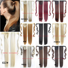 Wholesale Ponytail Wraps - Wholesale-Synthetic Wrap Around Ponytail Clip In On Hair Extensions Invisible ribbon HairPiece Pop Pony 12 colors Stright 24inches 100g