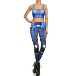 Wholesale Jumpsuits Patterns Free - 2017 Fashion Women Jumpsuit Long Length Stretch leggings tights Vest two-piece Digital printing Jumpsuits