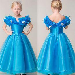 Wholesale Prom Dresses Short For Sell - Hot Selling Cinderella Blue Prom Dresses Girls Floor Length Graduation Gown Children Custom Made V Neck Flower Girl Dresses For Weddings
