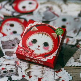 Wholesale Diary Decoration Sticker - Wholesale- 45pcs Kawaii Cat Cute Kitten Paper Sticker Scrapbooking Diary Planner Decor School Supplies Baking Gift Packing Label for Kids