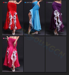 Wholesale Dancing Curls - Jazz Latin dance Clothes girl swing skirt women training Curling skirt belly dance dress Dancewear Practice Costume skirt Material: Milk si