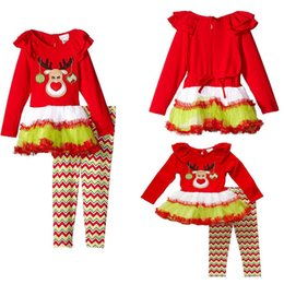 Wholesale Christmas Costumes Outfit Pants - Christmas costume Girls clothing Outfits Reindeer Petal neck dress+ Striped pant 2017 kids 2-6years Free FEDEX shipping European