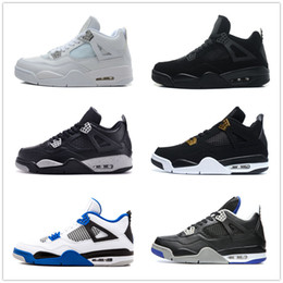 Wholesale White Rhinestone Mesh - retro 4 alternate motorsports white cement pure money royalty military blue bred thunder black cat oreo sneakers for men women