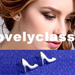 Wholesale Silver Shiny Heels - PATICO New Shiny Silver High-Heeled Shoes Stud Earrings Jewelry Novel Modelling Earrings Female Wholesale Free Shipping