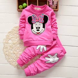 Wholesale Image Cartoon Baby - Wholesale- Autumn Winter Baby Girl Set's Cartoon Image Cute 2PCS Kids Set Long Sleeve Top+Pants Cute Princess Children Kids Clothing Set