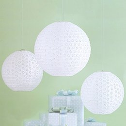 """Wholesale Light Pink Paper Lanterns - 8"""" to 16""""(40cm) White Hollow Chinese Paper Lantern Ball Luminaria Paper Lanterns Wedding Party Decoration Accessories 9 color in stock"""