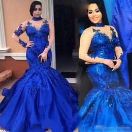 Wholesale Long Abendkleider - Stunning Royal Blue High Neck Prom Dress Illusion Long Sleeve Applique Mermiad Evening Gowns 2017 Party Abendkleider