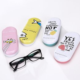 Wholesale Wholesale Cartoon Tin Boxes - Kawaii Iron Tin Boxes Glasses Case Cartoon Storage Box Organizer For Jewelry Eyewear Spectacles Container Cover
