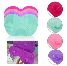 Wholesale Tool Washing Hair - Silicone Makeup Brush Cleaner Powder Brush Cleaning Mat Make Up Brush Pad Apple Shaped Scrubber Board Cosmetic Washing Tool
