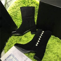 Wholesale Zipper Winter Boots For Women - 2017 Hot Sale Women Boots Chunky Heel Shoes Winter Boots Black Gold Luxurious Brand Boosts With pearls With Zip Fastener ZIPPER For Party