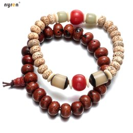 Wholesale Red Lucky Hand String - New arrivals 2 styles Natural Praying Beads Lucky Bracelet high quality Bodhi Hand String Beaded Bracelets