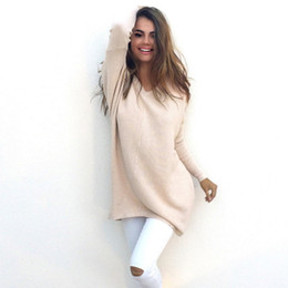 Wholesale Knit Sweaters Ladies - Wholesale-Womens Ladies V-Neck Chunky Knitted Oversized Baggy Sweaters Thin Jumper Tops Outwear